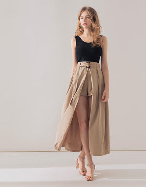 Textured Front Slit Skort with Belt