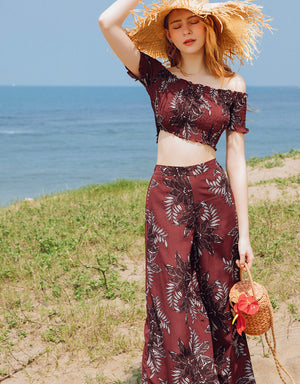Shirred Off Shoulder Printed Set Wear
