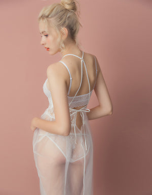 Sensuos Transparent Mesh Splice Lace Slip