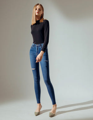 Stretchy Ripped Denim Jeans