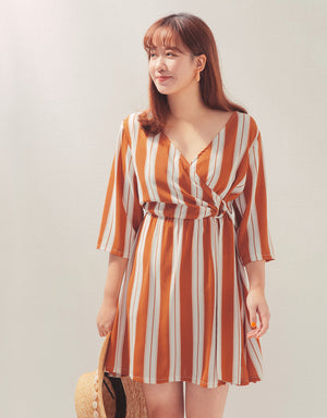 Striped Crossover Side Ribbon Dress