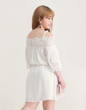 Cami Strap Lace Jacquard Flare Dress