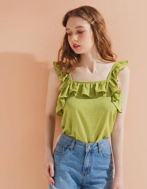 Ruffle Square Neck Top