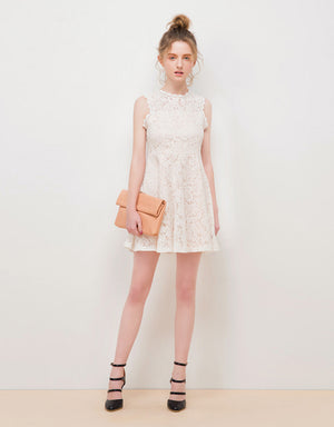 Lace Jacquard Flare Dress