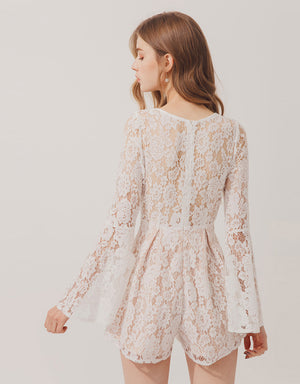 Wide Sleeve Lace Playsuit