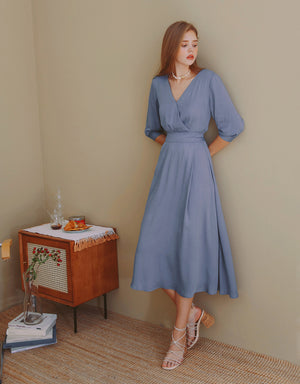 Crossover V-Neck Shirred 3/4 Sleeve Midi Dress