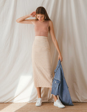 Checkered Slit Midi Skirt