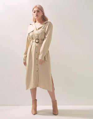 Sleek Corduroy Long Sleeve Belted Blouse Dress