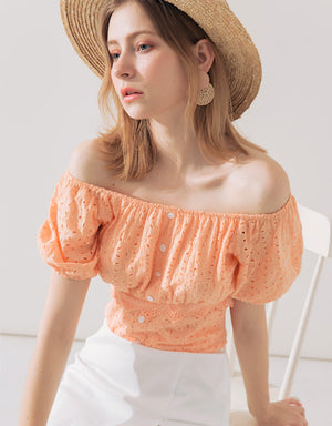 Vintage Style Broderie Lace Off Shoulder Top