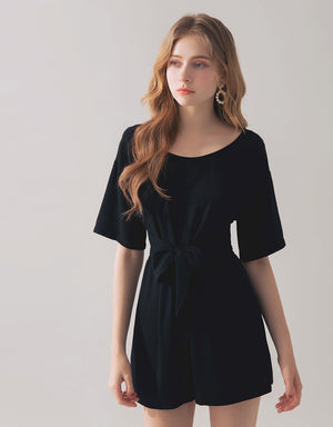 Minimalist  Casual Playsuit with Knot