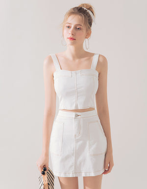 Contrast Stitching Cami Set Wear