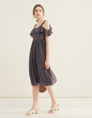 Back Ribbon Ruffle Midi Dress