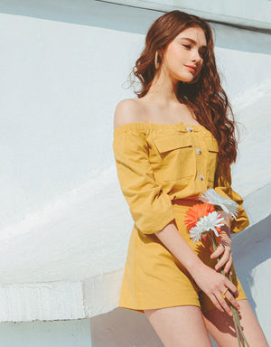 Off Shoulder Two-Pocket Button Top & Shorts Set Wear
