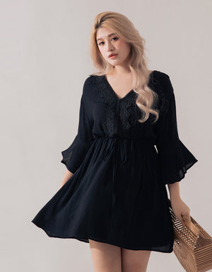 V-Neck Lace Hollow Strap Dress