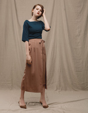 Striped Two-piece Straight Midi Skirt