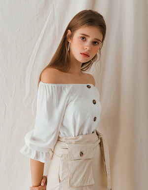 Vintage Ruffle Sleeve Button Down Top