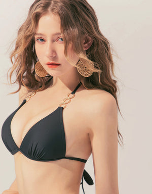 Metal Ring Push Up Ribbon Bikini Top