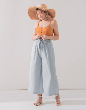Loose Tie Up Wide Leg Pants