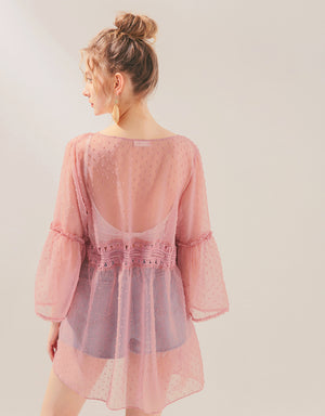 Swiss Dot Transparent Ribbon Long Kimono