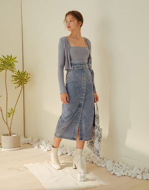 High-Waisted Front Slit Belted Denim Midi Skirt