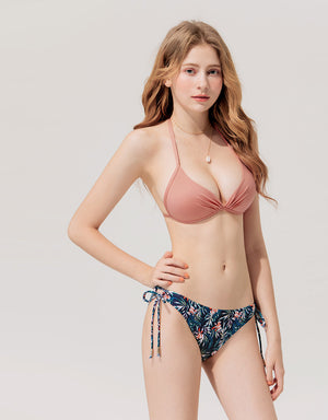 (L, XL, 2L) Plain Front Twist Bikini Swimwear Top