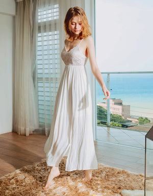 Lace Splice Chiffon Hollow Back Dress