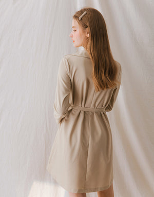 Elegant Turndown Collar Wrap Dress
