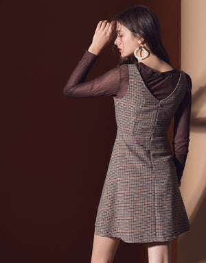 Button Plaid Sleeveless Dress
