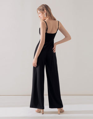 Thin Strap Front Twist Jumpsuit