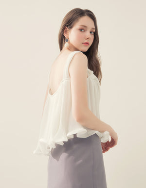 2WAY Pleats Top with Ruffle Hem