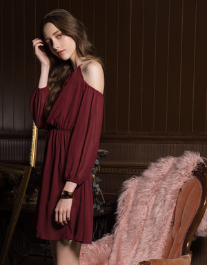 Neck Ring Cold Shoulder Chiffon Dress