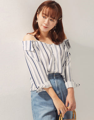 Striped Cold Shoulder Button Up Top