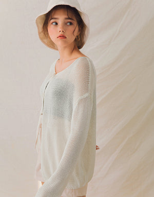 2Way Transparent Button-Down Knitted Top