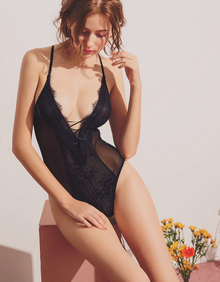 Sexy Lace Mesh Bodysuit - AIR SPACE 350682a21