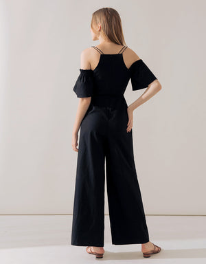 V Neck Cold Shoulder Jumpsuit