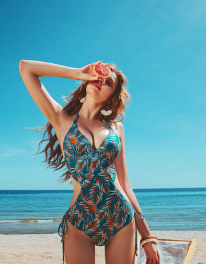 3Way Printed Double Ribbon One-Piece Bikini