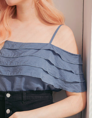 Layered Cut Out Shoulder Loose Top