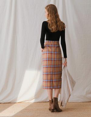 Scottish Tartan Slit Midi Skirt