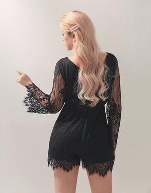 Lace Crossover V-Neck Long Sleeve Playsuit