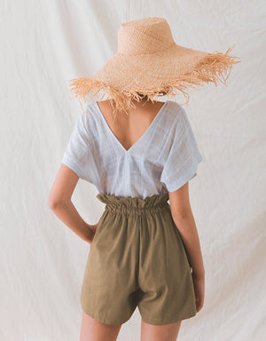 Paperbag Button Up Ribbon Linen Shorts