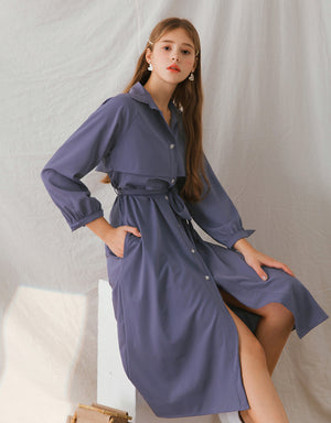 Trench Style Button Up Maxi Belted Dress