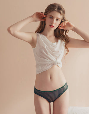 Cross Strap Striped Brief Panty