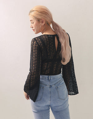 Geometric Lace Long Sleeve Top