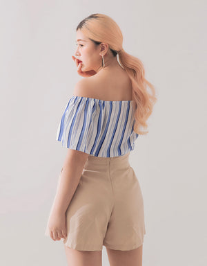 Off Shoulder Button Up Knotted Striped Top