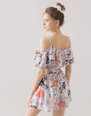 BOHEMIAN PRINTED COLD SHOULDER PLAYSUIT
