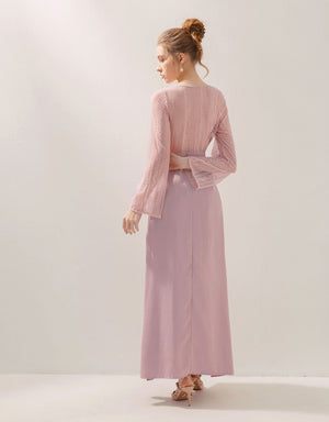 V-Neck Lace Transparent Back Long Sleeve Slit Maxi dress