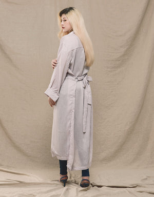 2 WAY Creased Longline Shirt with Belt