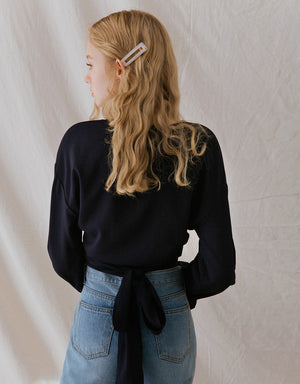 Striped Crossover Hem Ribbon Long Sleeve Crop Top