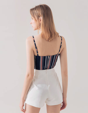 Crossover Stripe Crop Top