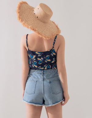 High Low Frayed Denim Shorts